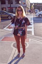 orange American Apparel jeans - black hawaiian blouse - blue Aldo shoes