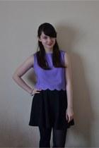 light purple scallop Ever Ours shirt - black circle skirt Topshop skirt