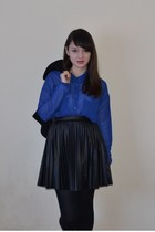 black Forever21 jacket - blue Monki shirt - black warehouse skirt