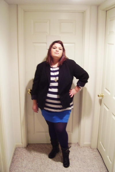 Dillards jacket - Jcpennys top - na skirt - Dillards stockings - The Wild Pair b
