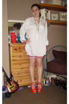 white H&M blouse - gold Topshop necklace - pink shorts - pink socks - orange Int