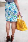 Grey-shirt-thrifted-bag-vintage-floral-skirt