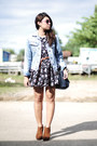 Camel-shoes-floral-print-dress-denim-jacket