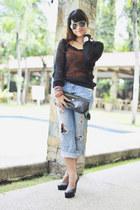 distressed jeans - fishnet top - orange top - black heels
