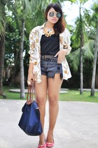 denim shorts - scarf-print top - blouse