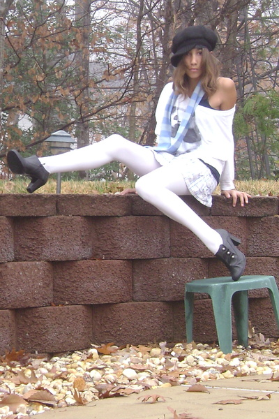 black Mossimo shoes - white tights - blue hollister skirt - blue New York &amp; Co s