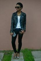 black skinny jeans bullhead black jeans - black OASAP jacket
