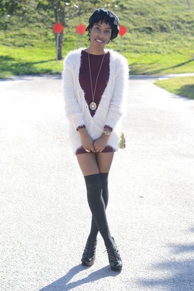 crimson Forever 21 dress - mohair OASAP cardigan