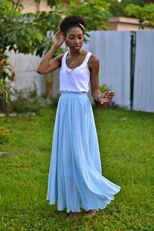light blue maxi OASAP skirt - dark green headband OASAP accessories