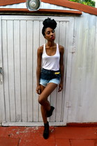 navy ombre DIY shorts - gold ear cuff OASAP accessories - cream PacSun top