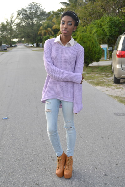 periwinkle Walmart sweater - light blue PacSun jeans