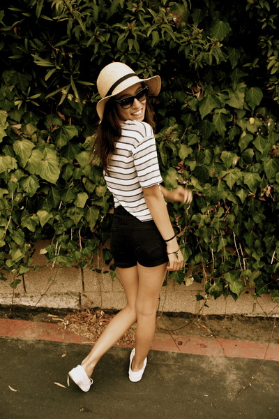 black Urban Outfitters shorts - white Vans shoes - brown Urban Outfitters hat -