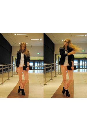 navy Zara jacket - light pink Zara pants