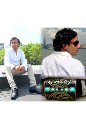 beige skinny jeans PacSun jeans - white mirrorwork Manish Malhotra shirt