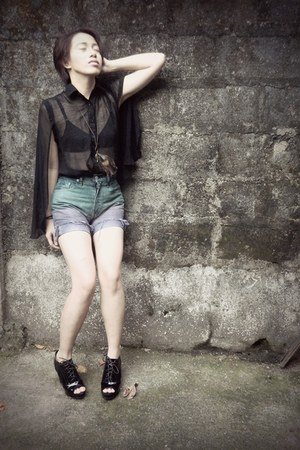 black transparent blouse - purple ombre shorts - dark green ombre shorts shorts