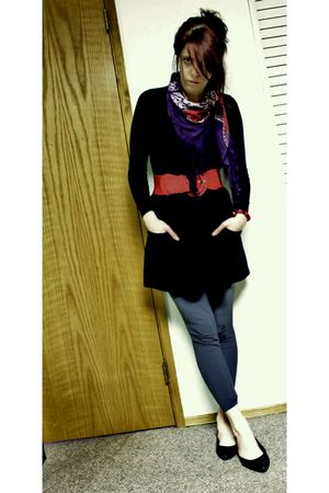 gray f21 leggings - black aa skirt - black BP sweater - purple  scarf - red Wet