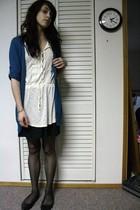 teal cardigan - cream blouse