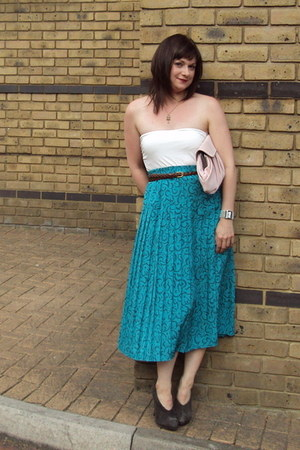 turquoise blue 1980s vintage vintage skirt - white H&M top - charcoal gray Marks