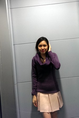 purple Love Bonito sweater - light pink bangkok skirt