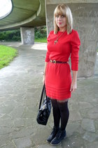 red thrifted dress - black Primark boots - black Pamela Man tights
