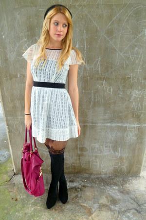 black heeled chelsea asos boots - white lace Dahlia dress - black celtic rose Pa