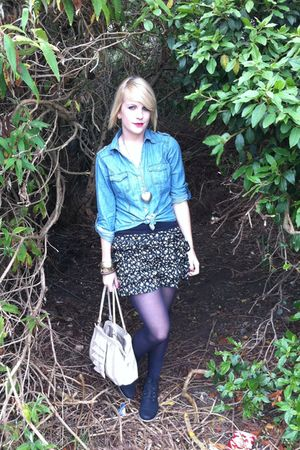 black Primark boots - beige South bag - black Primark skirt - blue TK Maxx shirt