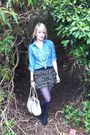 Black-primark-boots-beige-south-bag-black-primark-skirt-blue-tk-maxx-shirt