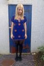Black-creeper-shoes-blue-vintage-dress