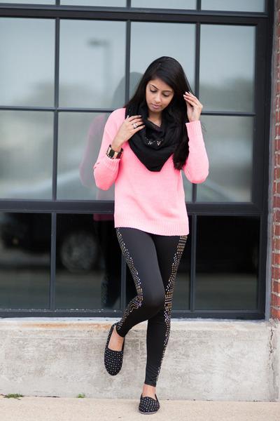 bubble gum Forever 21 sweater - black Wet Seal leggings - black Aldo flats