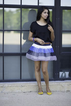blue Wetseal skirt - black Lush top - yellow BDG flats