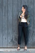 yellow Forever21 jacket - eggshell Forever21 top - black H&M pants