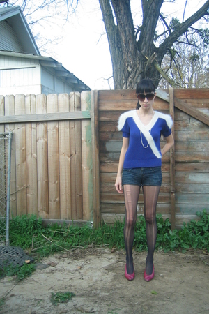 purple vintage sweater - blue made from jeans shorts - pink 1980s thrifted shoes