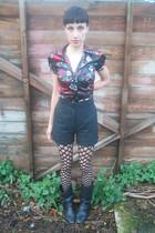 black Retro boots - black Vintage Shop shorts - red Nordstrom blouse - black tig