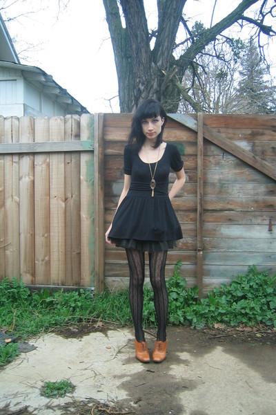 black crossroads dress - black Sock Dreams tights - black Target shoes - Crimson