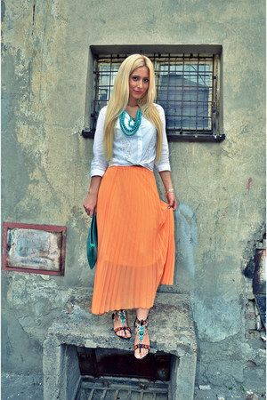 white MORGAN skirt - orange Sheinside skirt - black River Island sandals