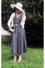 Navy-vintage-dress-white-preston-york-hat-cream-belt-ivory-cardigan