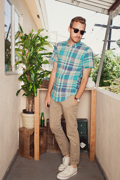 J Crew shirt - PF Flyers shoes - Ray Ban sunglasses - J Crew pants - timex watch