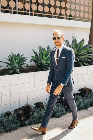 dogstooth asos suit - banana republic shoes - J Crew shirt