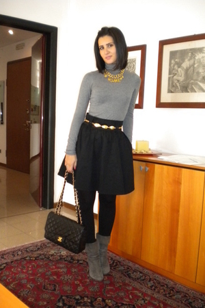 silver H&M shirt - black H&M skirt - black chanel bag - gold Chanel necklace