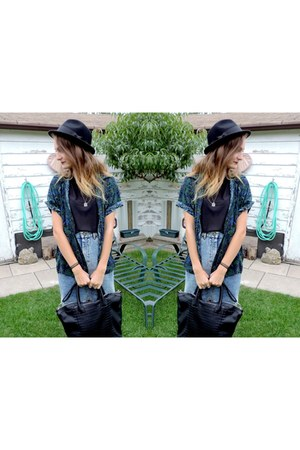 black woo H&M hat - black leather H&M bag