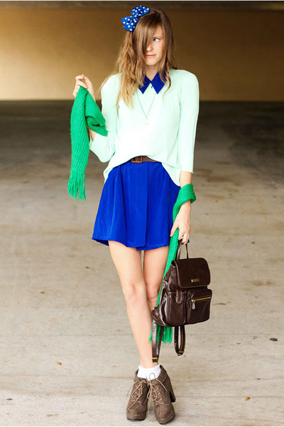 blue Tea and Tulips dress - lime green Tea and Tulips sweater