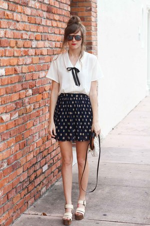 navy romwe skirt - white Tea and Tulips blouse