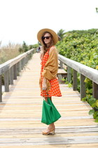 carrot orange Tea and Tulips dress - camel style rev scarf