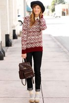 brick red Tea and Tulips sweater - off white Tea and Tulips blouse