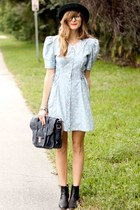 periwinkle Tea and Tulips dress - black Francescas Collections bag