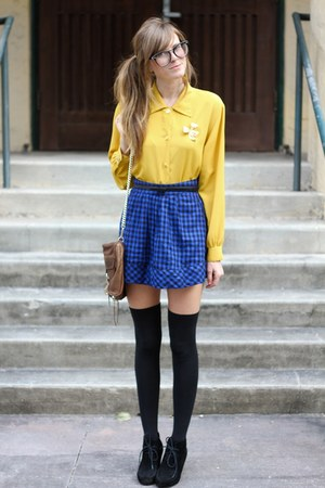 gold Tea and Tulips blouse - blue Tea and Tulips skirt