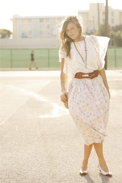 off white thrifted vintage shirt - dark brown thrifted vintage belt - light pink