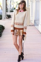 burnt orange Tea and Tulips sweater - tan Tea and Tulips skirt