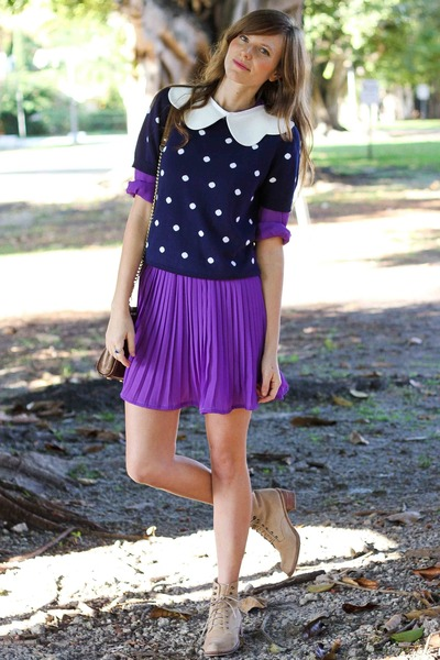 deep purple Tea and Tulips dress - navy Tea and Tulips sweater