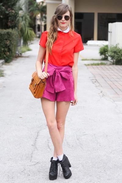 Sheinside shorts - romwe bag - Tea and Tulips blouse